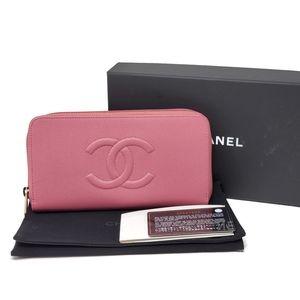 100% Auth CHANEL Caviar Skin Zippy Pink Wallet